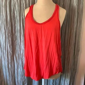 Ella Moss Coral Red Top with Woven Details